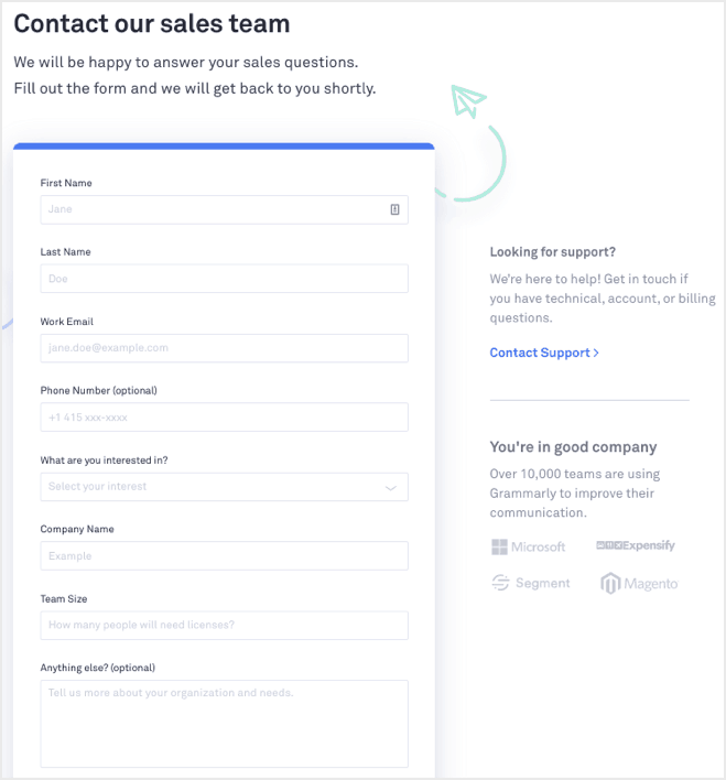 grammarly contact form for sales