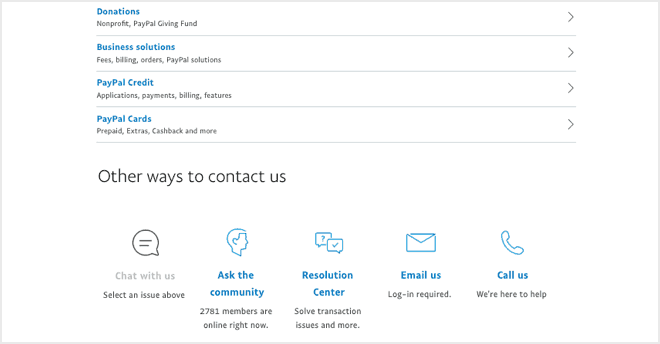 paypal contact page