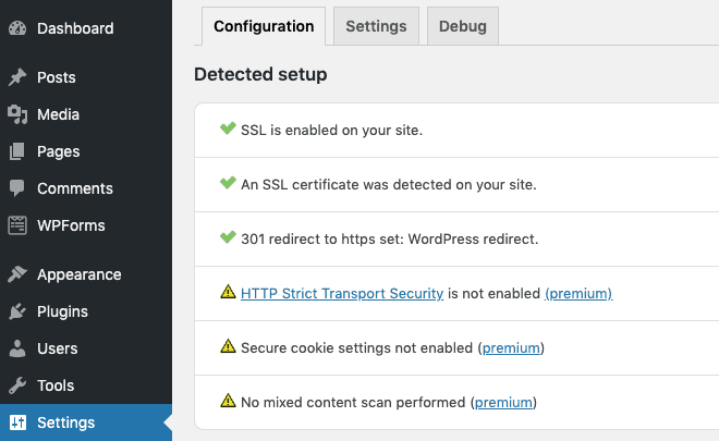 really simple ssl configuration settings