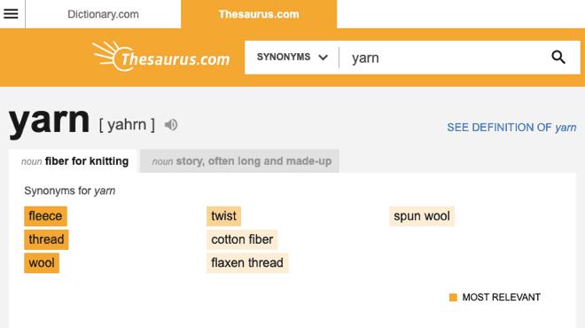 thesaurus synonyms of yarn