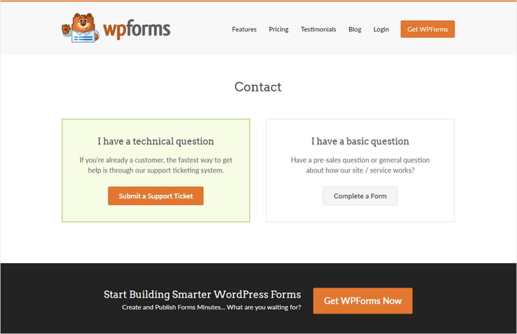 WPForms contact us page example