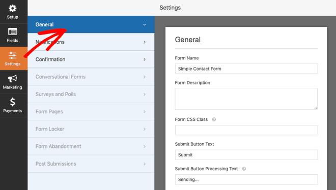 WPForms general settings