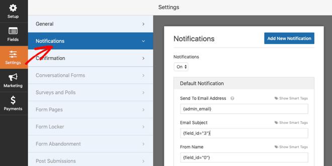 WPForms notifications