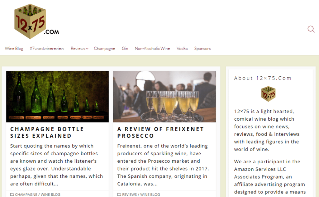 What Is a Blog Example: 12x75 Wine Blog