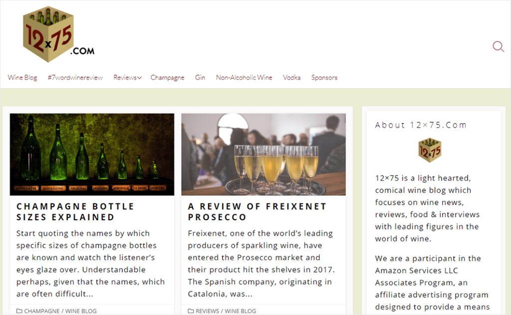 Qu'est-ce qu'un exemple de blog: 12x75 Wine Blog