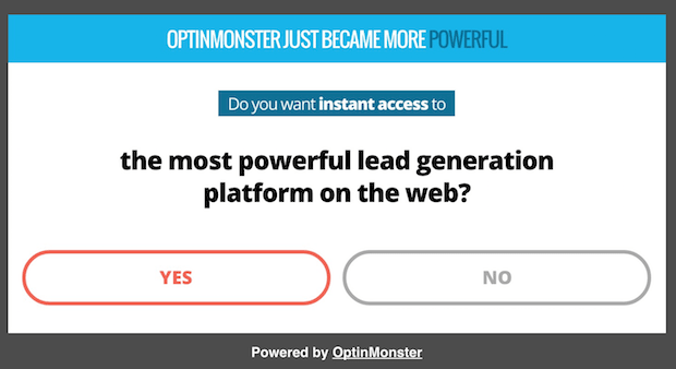 simple email pop up example with yes/no buttons