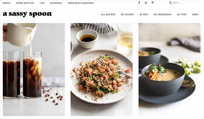 Sassy Spoon food blog monetization example