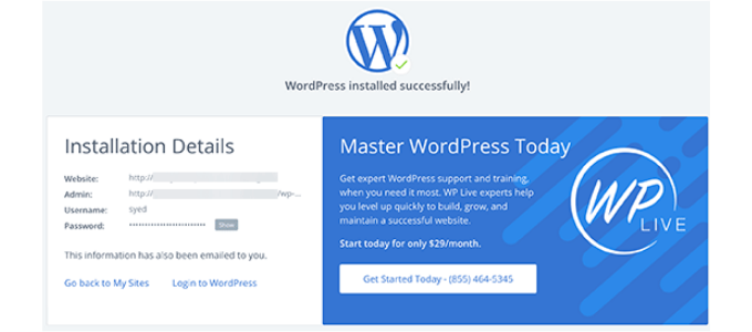 wordpress-successfully-installed