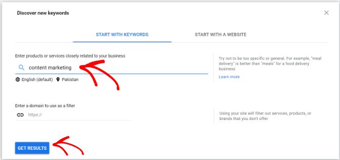 discover new keywords results