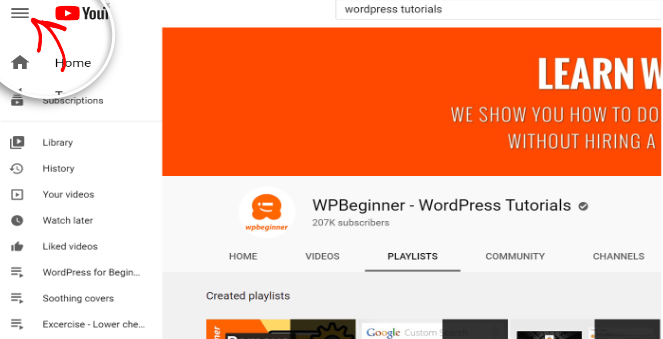 Embed youtube playlist in WordPress - click on menu icon