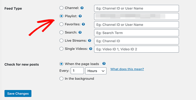 youtube feed types