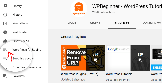 Embed youtube playlist in WordPress - Select the playlist