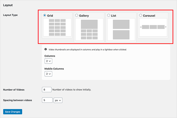 youtube playlist layout types
