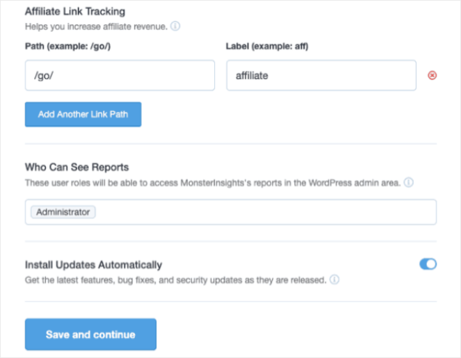 Affiliate Link Tracking  Who Can See Reports  Install Updates Automatically