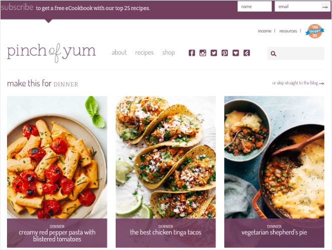 pinch of yum - best blog examples for a food blog