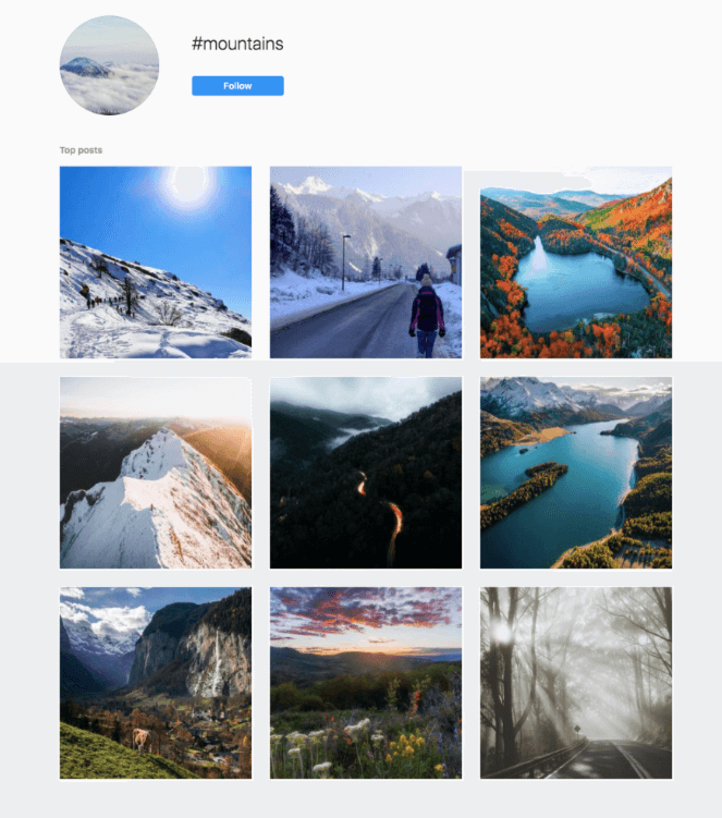 An example of an instagram hashtag feed. #mountains