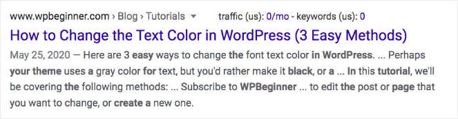 """How to Change the Text Color in WordPress (3 Easy Methods)"" This shows how parenthesis can be used in title tags"