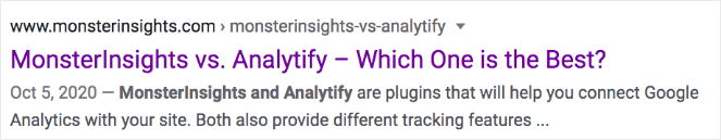 """MonsterInsights vs. Analytify - Which One is the Best?"" This shows how a dash looks in a title tag"