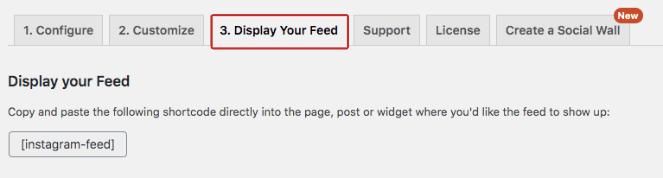 Vaya a Mostrar su fuente y luego copie el código corto para incrustar una fuente de hashtag con un código corto.