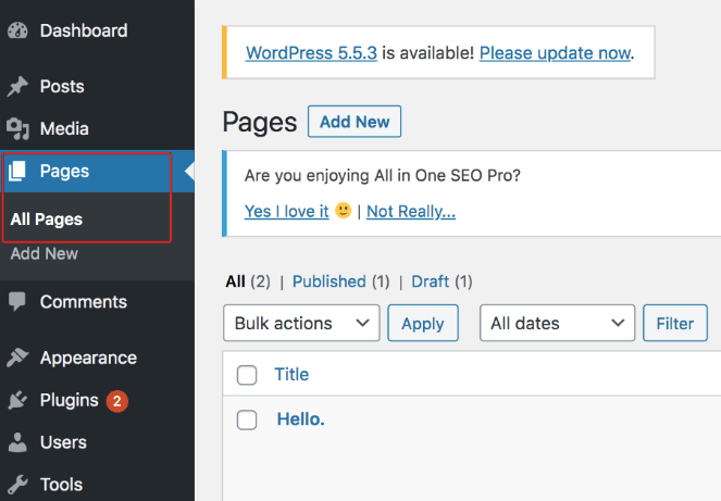 Click Pages then All Pages to embed an instagram hashtag feed with the new WordPress block editor