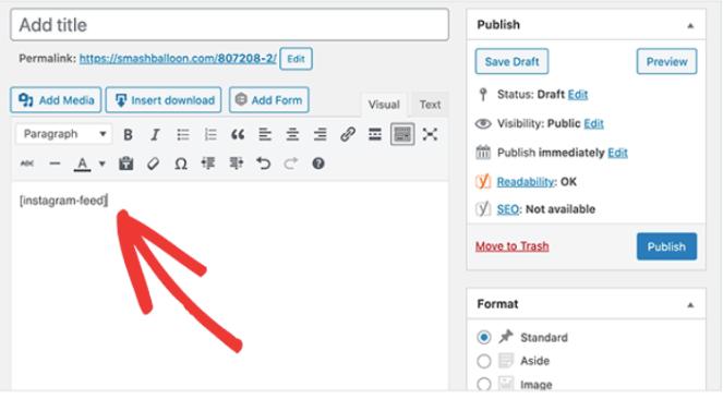 Copie el código corto del feed de instagram en una página o publicación de WordPress