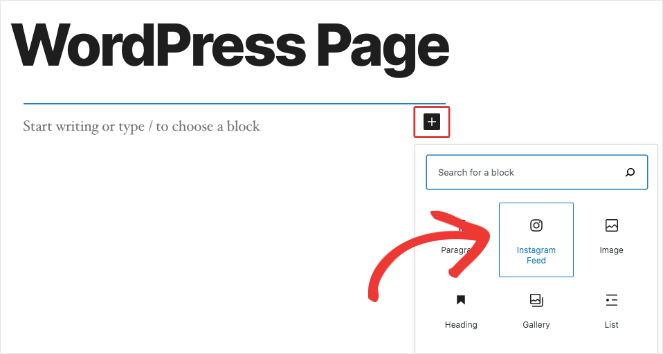 You can add an Instagram feed widget to the page using the block editor. This will embed the hashtag feed.