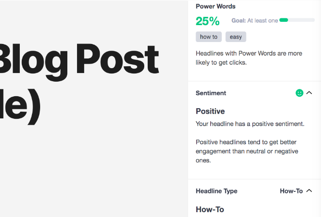 Features of the headline analyzer - Power words, Positive, and how-to headlines