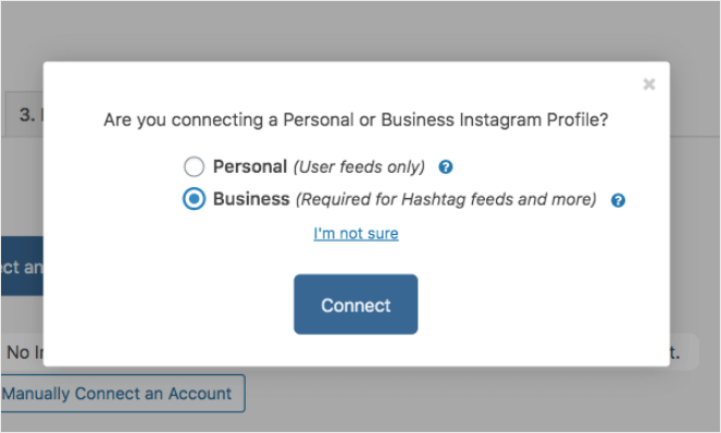 Choose Business to display an Instagram hashtag feed on WordPress