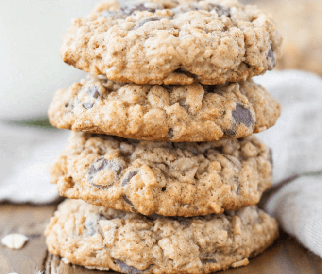 Oatmeal chocolate chip cookies. you should name this image file oatmeal-chocolate-chip-cookies.
