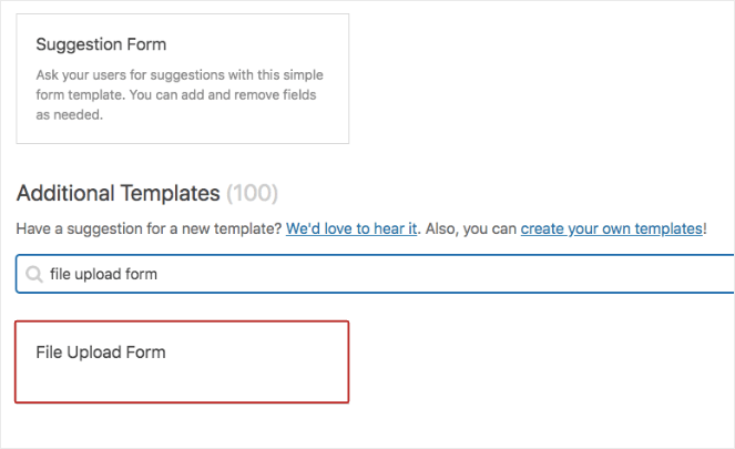 Type in File Upload form to find the right WPForms template