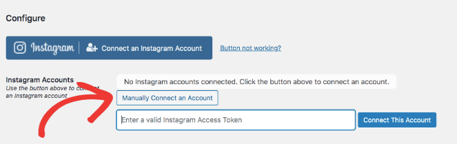 Manually Connect an Account is another way to connect your Instagram to Instagram Feed Pro