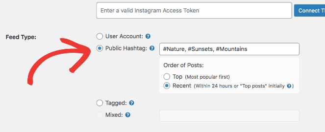 Public hashtag allows you to set up and display an instagram hashtag feed