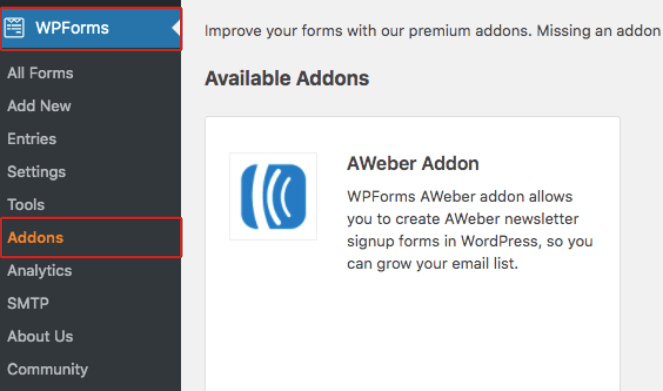 Click on WPForms then Addons to install an image upload form template