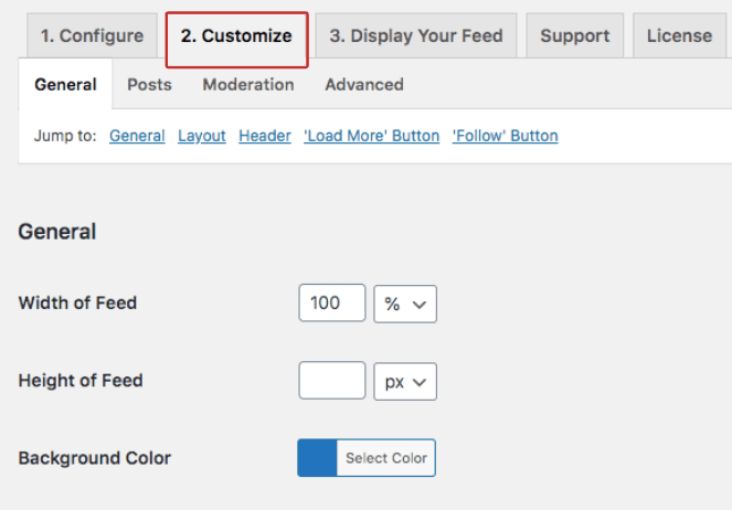 General customizations can change the size and color of the instagram hashtag feed