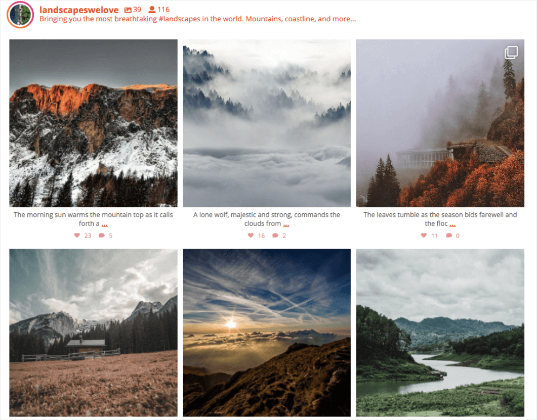 A grid layout is a uniform grid of images.