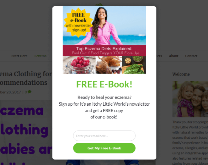 Email optin popup for conversions