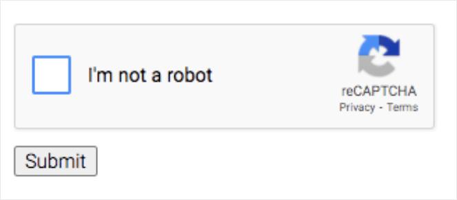 I am not a robot reCaptcha form