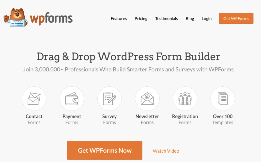 WPForms Product page. They allow users to upload images with an online form.