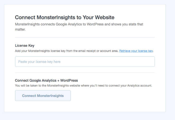 Enter in your MonsterInsights license key