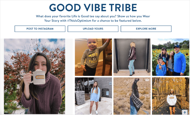 The good vibe tribe is a hashtag feed example of engaging and getting more users to follow your blog.