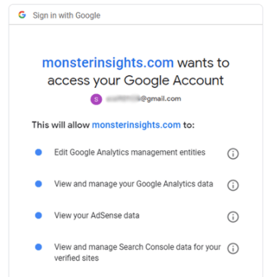 Allow MonsterInsights to access your Google Account