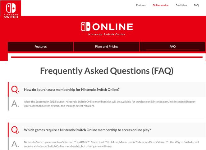 nintendo FAQ page