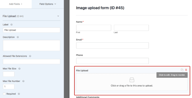 Click on the file upload box to edit the image file form settings