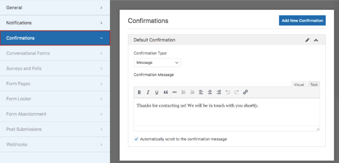 Click on confirmations to edit your image upload form confirmation page