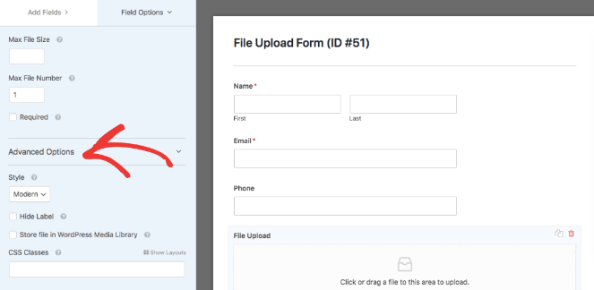 Advanced options of the image file form