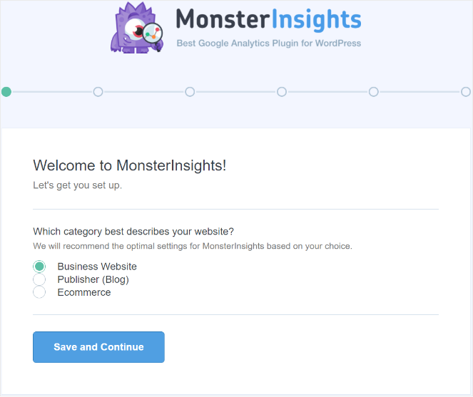 Assistant de configuration MonsterInsights