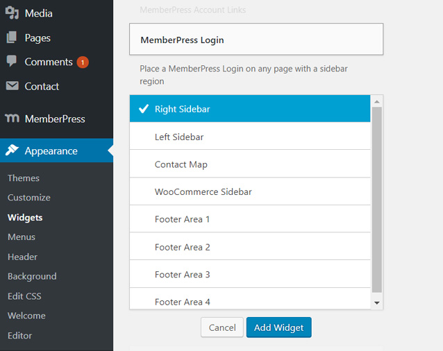 add-course-login-widget-wordpress