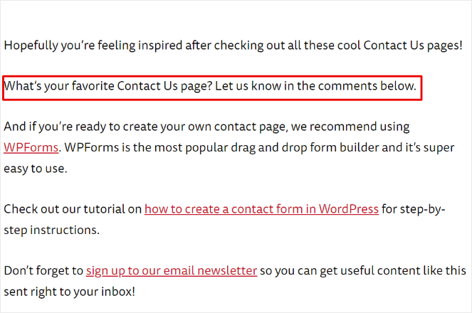 ask readers to add to your list article to get more comments