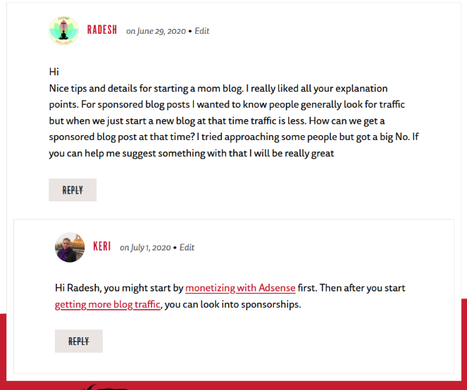 respond to comments on your blog
