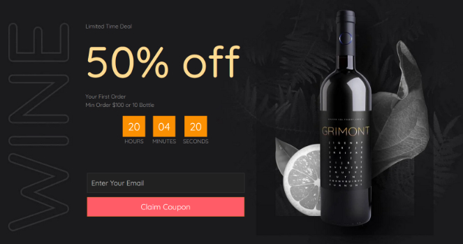 limited time offer and countdown timer to increase urgency on landing page